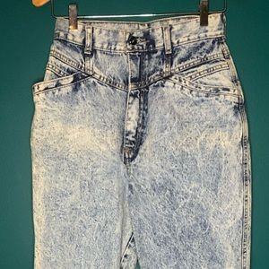 Vintage acid washed high waisted 80's jeans long
